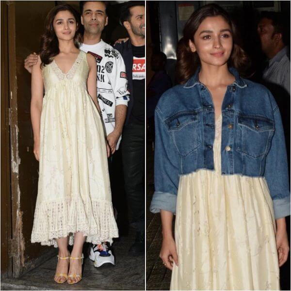 lia Bhatt wearing a cute dress by Ilovepero and she paired it up with her denim jacket