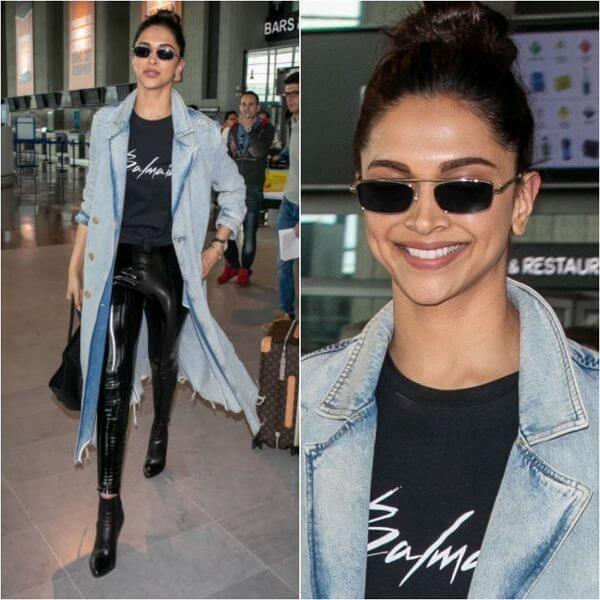 Deepika Padukone includes a denim jacket for women by Alexander wang and her top is from Balmain