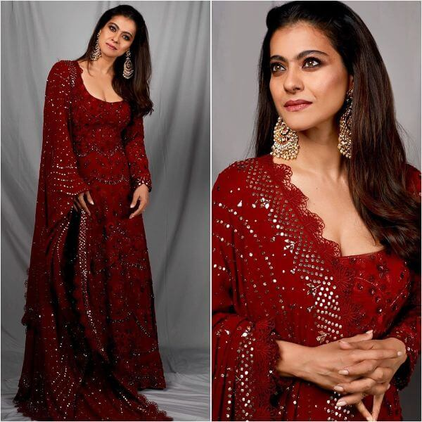 Kajol in Rich red wines anarkali suit with elegance