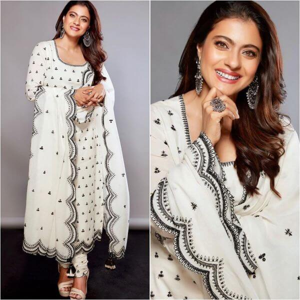 Kajol in White elegance sequined with silver wrinkles