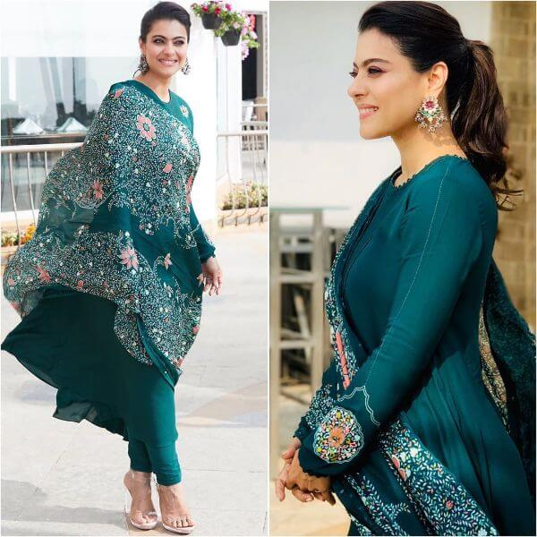 Kajol in Pinny green look with intricate prints