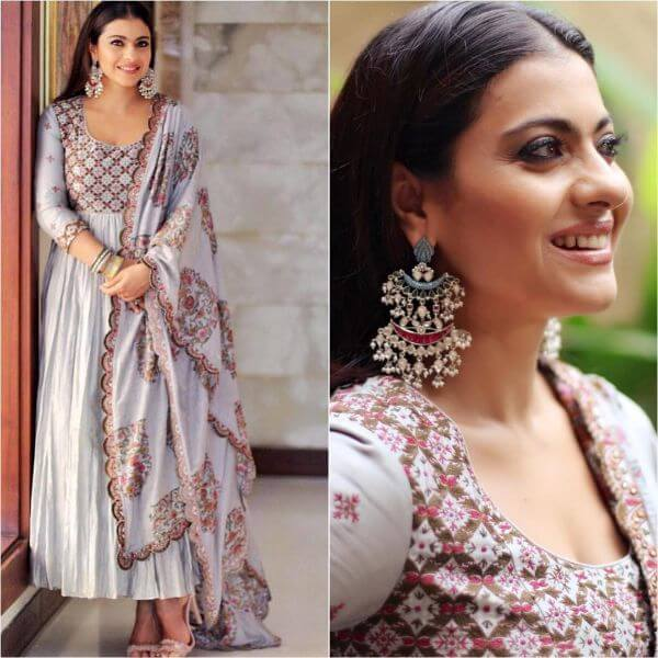 Kajol in colossal prints anarkali suit with silver plates earrings