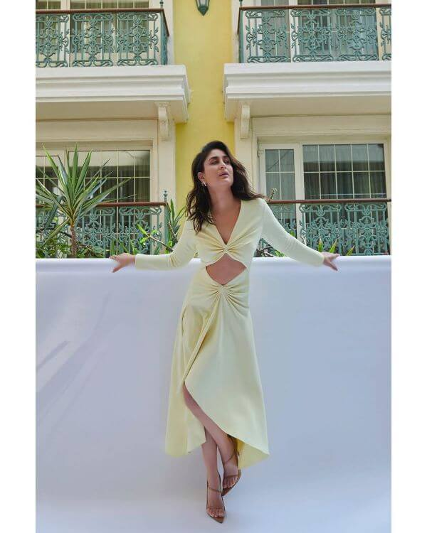 Kareena kapoor wearing this cut out lemon colour dress by Dion Lee