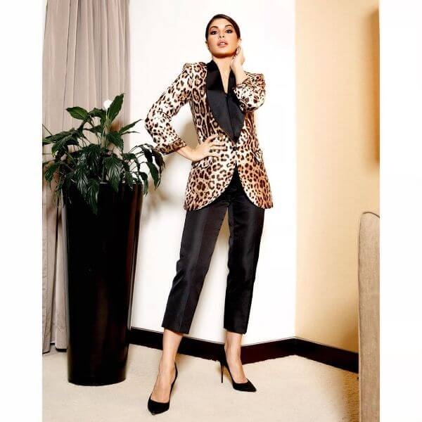 Jacqueline Fernandez actress was seen in a leopard print, Dolce & Gabbana blazer suit
