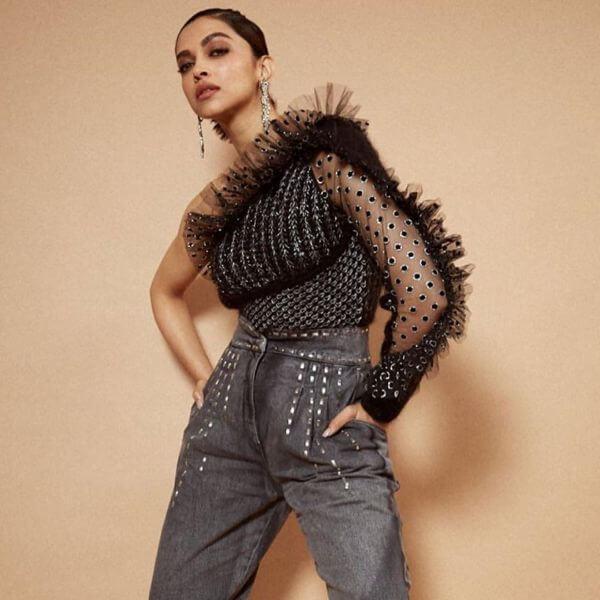 Deepika Padukone Lightly-embellished denims with an OTT top