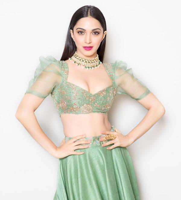 Kiara Advani in half net blouse design