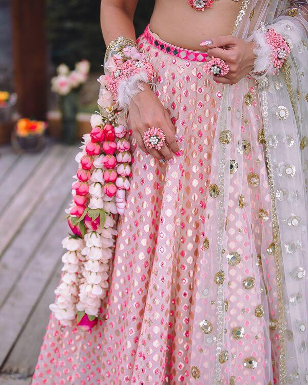 Pink and white floral kaleere designs Floral Kaleere Designs Spotted on Real Brides in Wedding