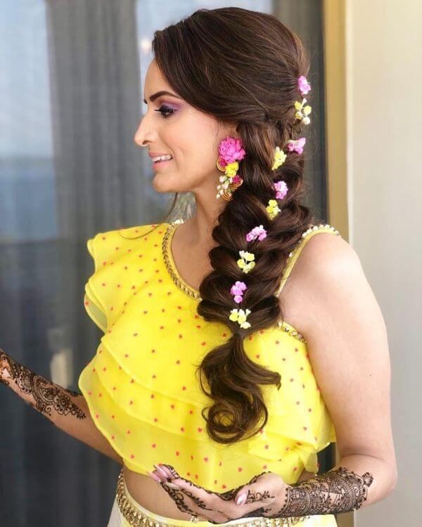 Front tied braid with different flower on twisted rope braid for haldi ceremony