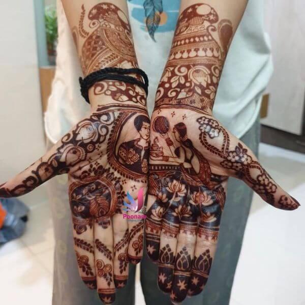 Regally Centered full hand Mehndi design for Karwa Chauth Karwa Chauth Special Full Hand Mehndi Designs