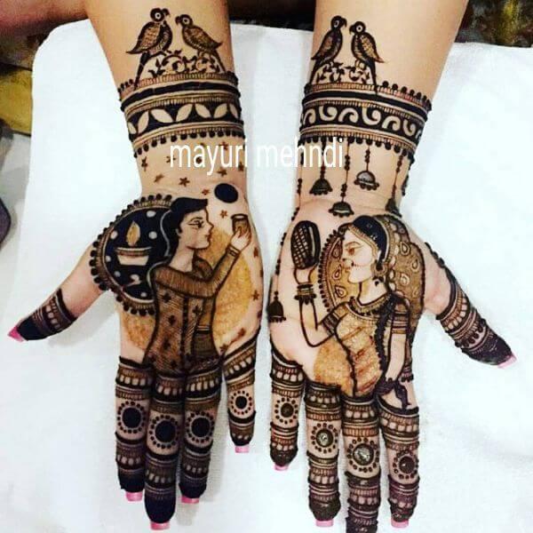 The Love Birds full hand Mehndi design for Karwa Chauth Karwa Chauth Special Full Hand Mehndi Designs