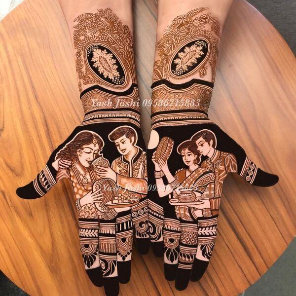 The Perfect Jodi full hand Mehendi design for Karwa Chauth Karwa Chauth Special Full Hand Mehndi Designs