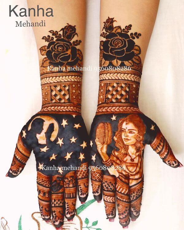 The Reflection full hand Mehndi design for Karwa Chauth Karwa Chauth Special Full Hand Mehndi Designs