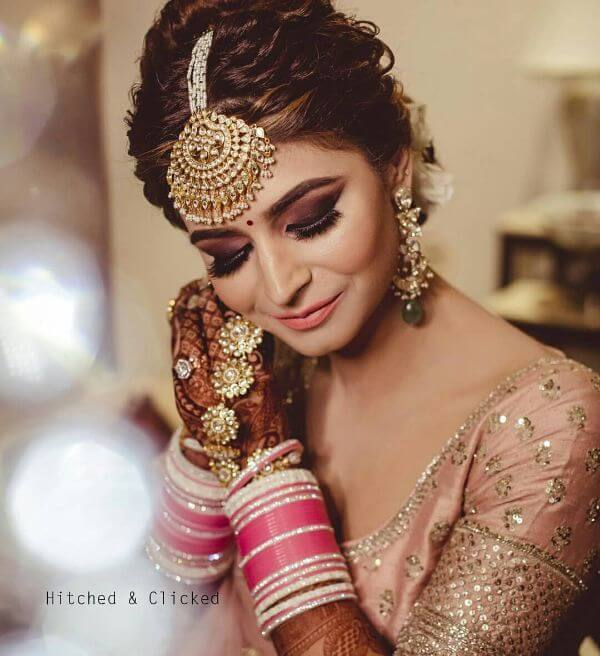 Ivory stone and pink choodas for indian brides