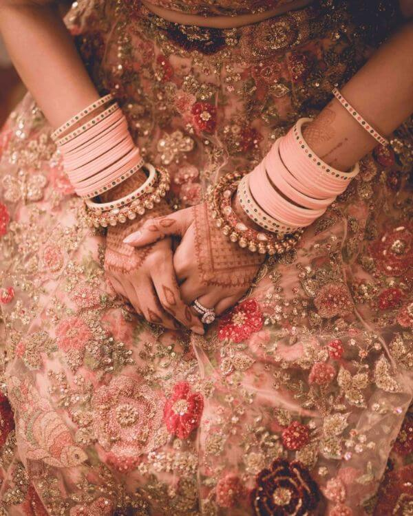 Very cute baby pink choodas for indian brides
