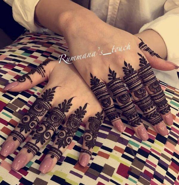 stylish and fancy finger henna mehndi design