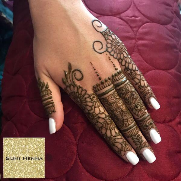 circular and floral finger mehndi design