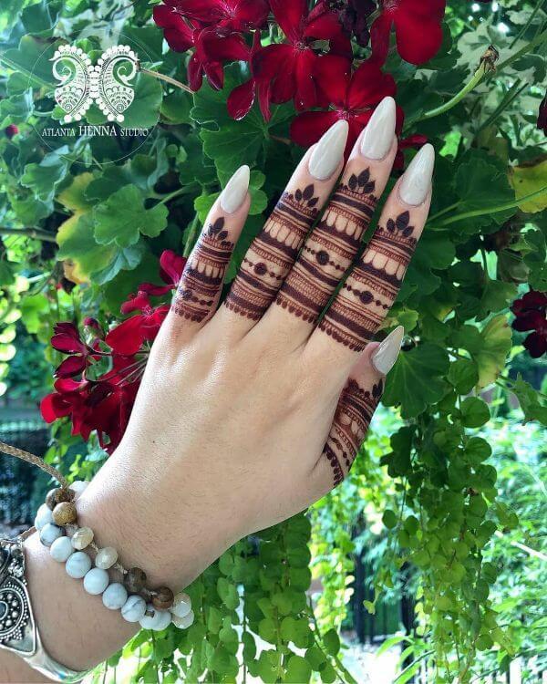 Finger Mehndi design with pygmy designs