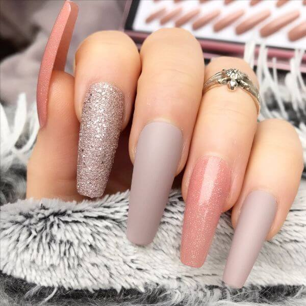 Peach, silver and grey nail art for women Matte Nail Art Designs - Nail Polish Ideas for Stylish Look
