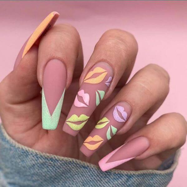Peach color with lips painted with matte paint on nails nail art for girls