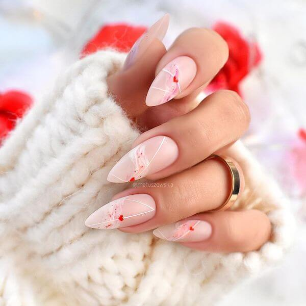 Tiny hearts with some white strings on it nail art for girls Matte Nail Art Designs - Nail Polish Ideas for Stylish Look