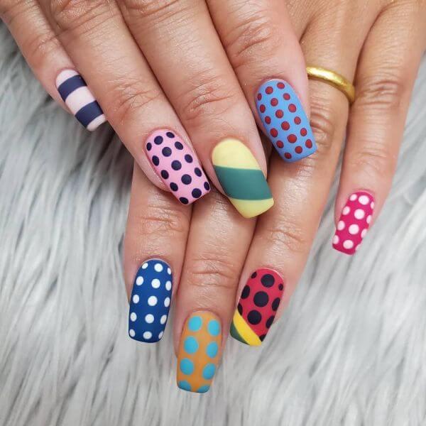Different coloured polka dots nail art Matte Nail Art Designs - Nail Polish Ideas for Stylish Look