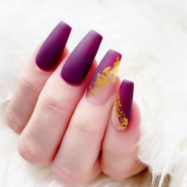 Purple matte design with yellow flower for nails Matte Nail Art Designs - Nail Polish Ideas for Stylish Look