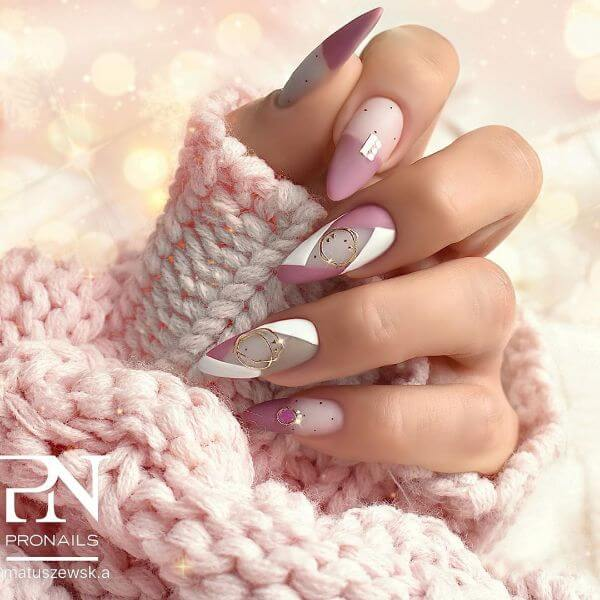 Pink, white and grey nail paint with some golden ceramic in the top Matte Nail Art Designs - Nail Polish Ideas for Stylish Look
