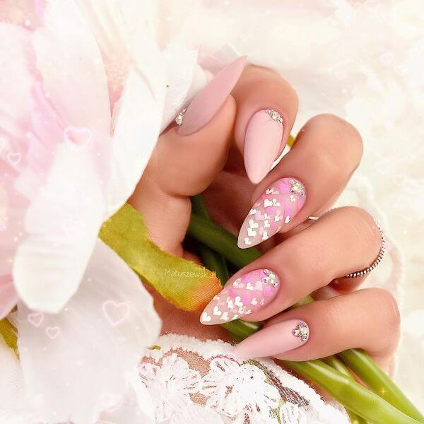Pink nail art with white color small hearts all over the nails Matte Nail Art Designs - Nail Polish Ideas for Stylish Look