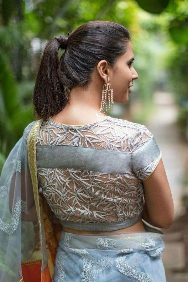 Net back with leaf pattern