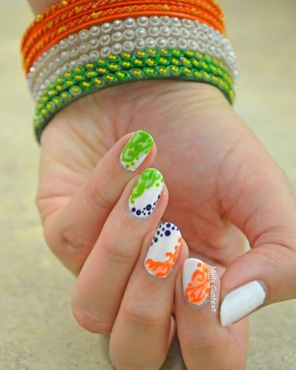 Tricolor Nail Art Designs for Republic Day & Independence Day