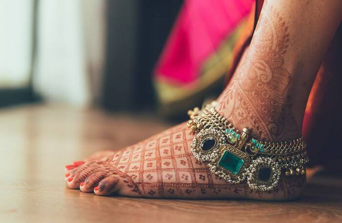 Traditional embellished Payal for bride's feet