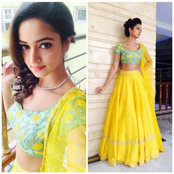 The bright yellow and lime combination for the bridesmaid Shanvi Srivastava Bridesmaids Outfits | Trending This Year