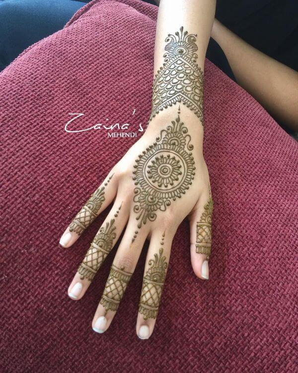 Chakra design, simple round mehndi designs for back hands