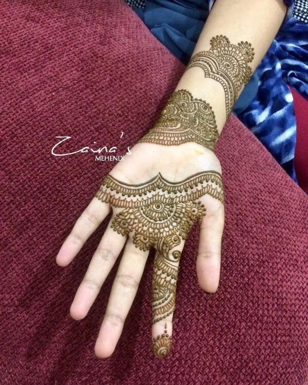 cute mehndi simple mehndi design for left hand front side