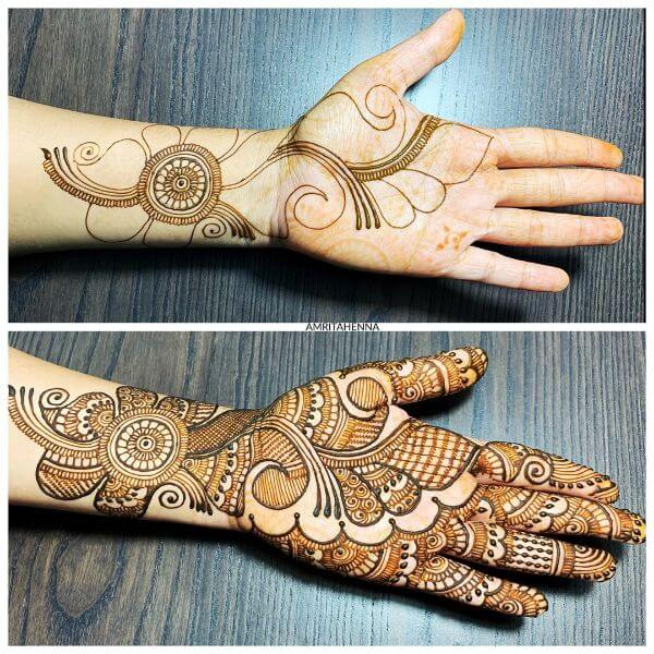 full hand mehndi design simple