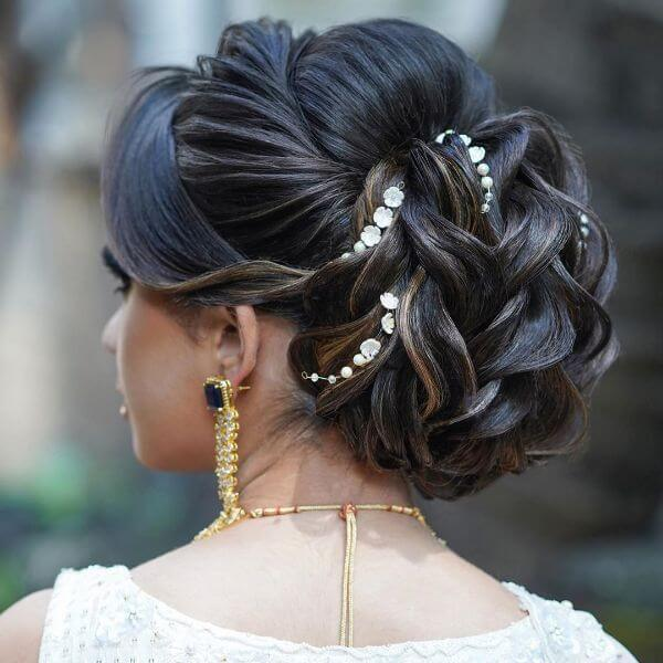 Multiple wavy curly messy bun with white head accessories for any occasion