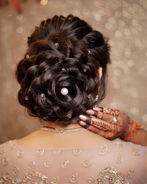 Braid twisted bun hairstyle with hair accessory