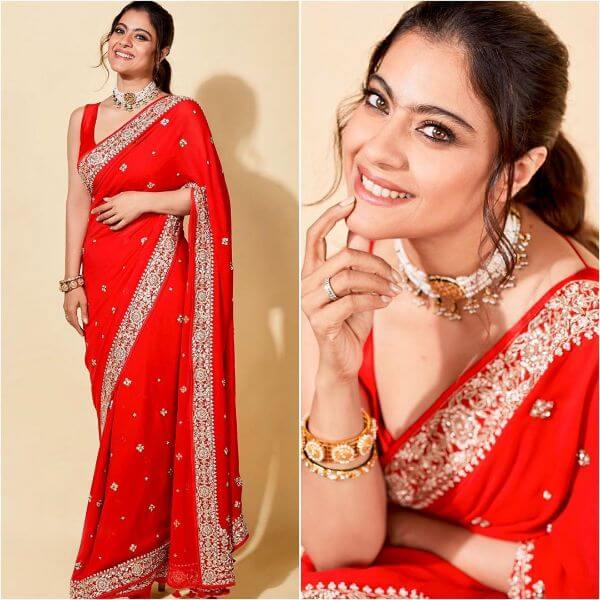 Red saree with white jewellery for any ethnic occasion