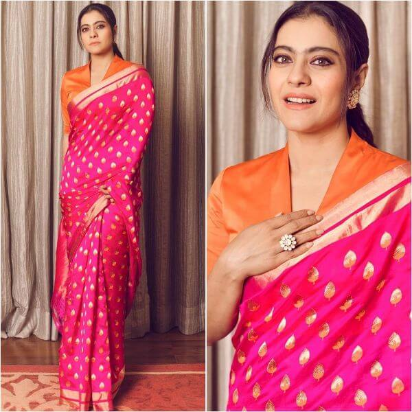 Kajol was wearing a pink saree during her promotions of her latest film Tanhaj