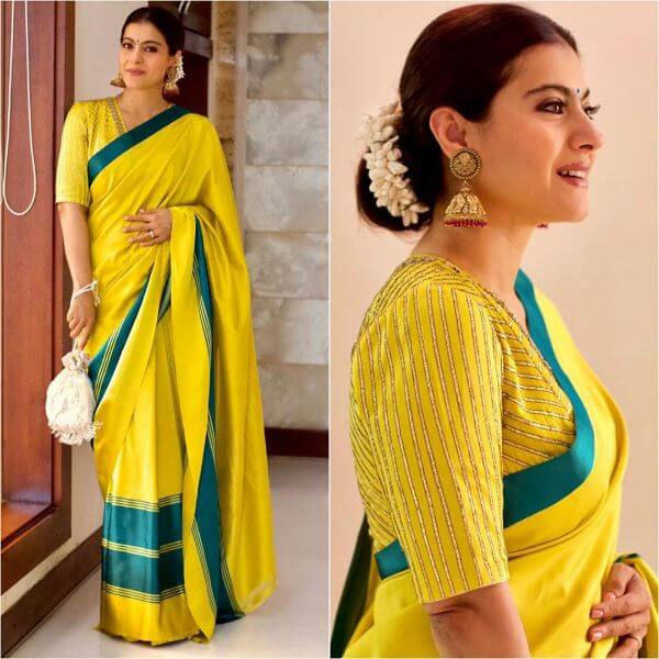Mustard saree with teal border and gajra for Puja