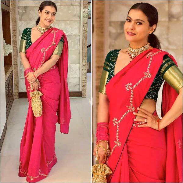 Traditional red saree for puja or any other occasion