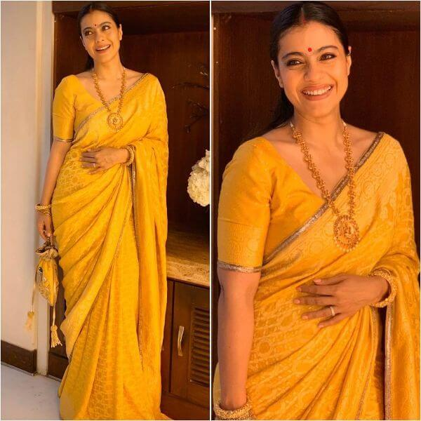 Yellow saree for haldi for any occasion with gold jewellery