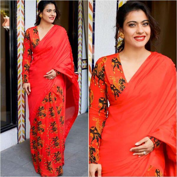 Red printed and plain saree for any occasion