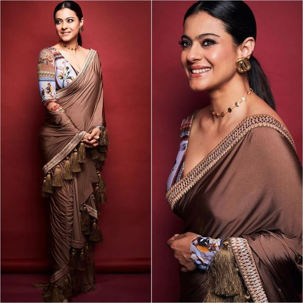 Plain metallic bronze saree with tassels for any occasion
