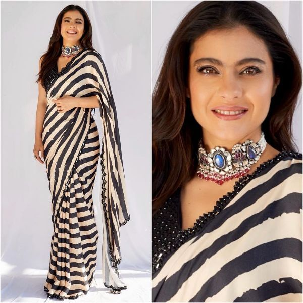 Black and white strips saree for any occasion