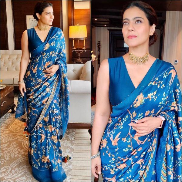 Blue floral print saree for any occasion