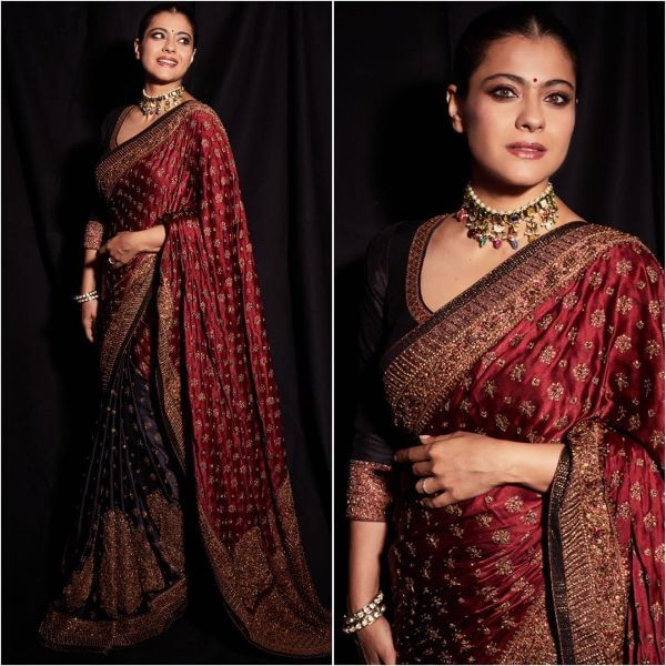 Proper red and maroon saree for heavy occasion