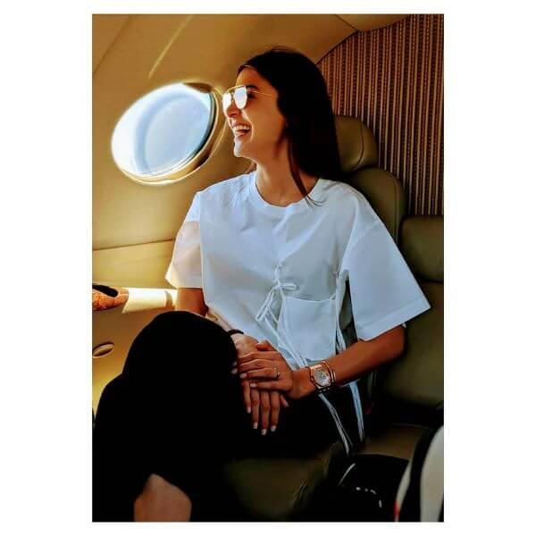 Anushka sharma worn this casual white t-shirt with black pants.