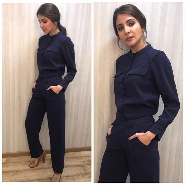 Anushka sharma in navy blue armani formal wear