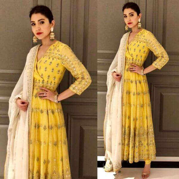 Anushka Sharma lovely yellow Anarkali outfit by Anita Dongre